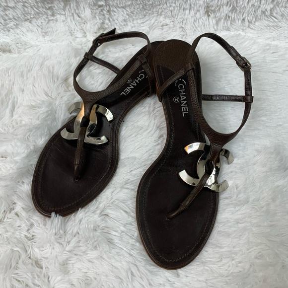 a287bc9b5c45a CHANEL Shoes - Chanel Large CC Logo Entre Doigts Sandal Size 40